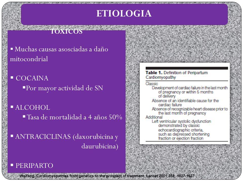 ETIOLOGIA TOXICOS COCAINA Por mayor actividad de SN ALCOHOL
