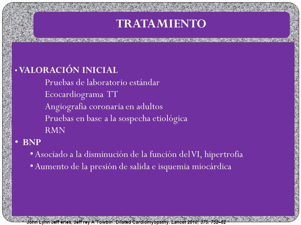 TRATAMIENTO Pruebas de laboratorio estándar Ecocardiograma TT