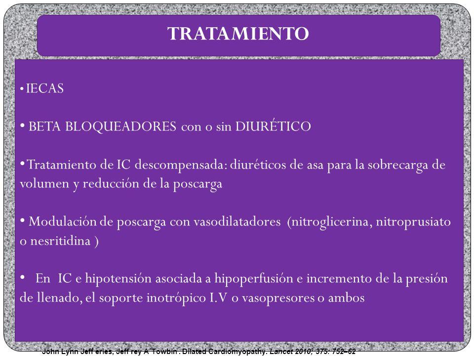 TRATAMIENTO BETA BLOQUEADORES con o sin DIURÉTICO
