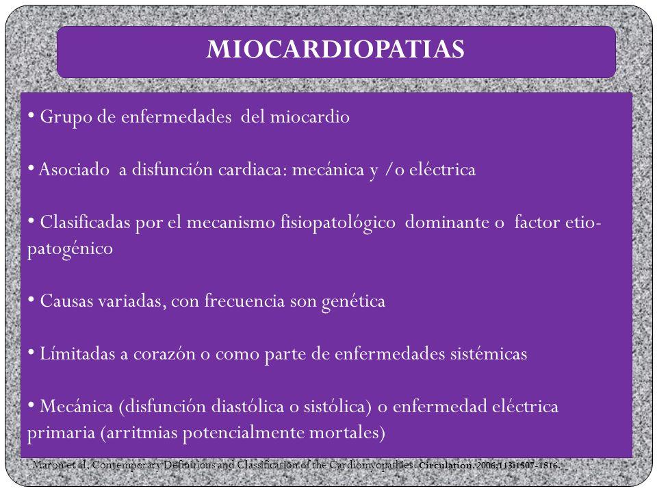 MIOCARDIOPATIAS Grupo de enfermedades del miocardio