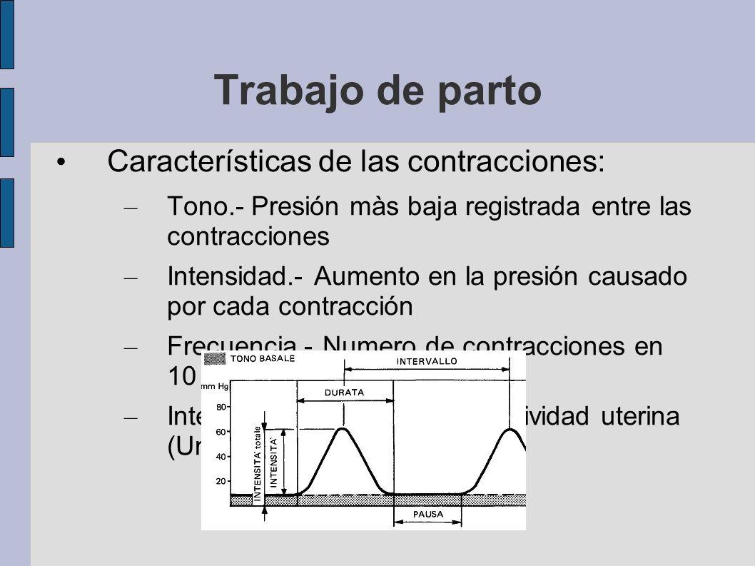 Trabajo de parto Características de las contracciones: