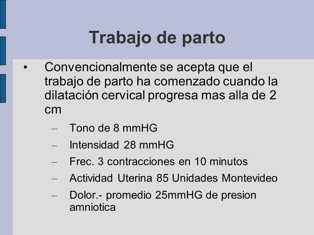 Trabajo de partoConvencionalmente se acepta que el trabajo de parto ha comenzado cuando la dilatación cervical progresa mas alla de 2 cm.