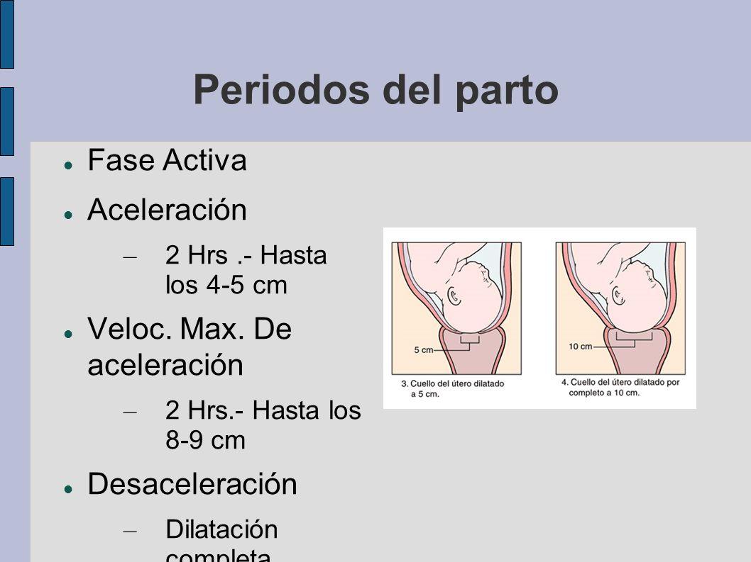 Periodos del parto Fase Activa Aceleración Veloc. Max. De aceleración