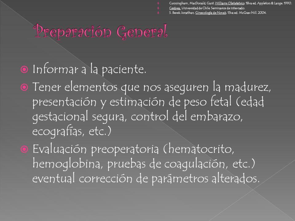 Preparación General Informar a la paciente.