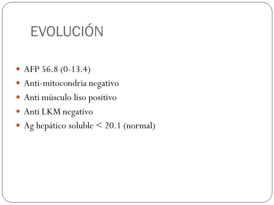 EVOLUCIÓN AFP 56.8 (0-13.4) Anti-mitocondria negativo