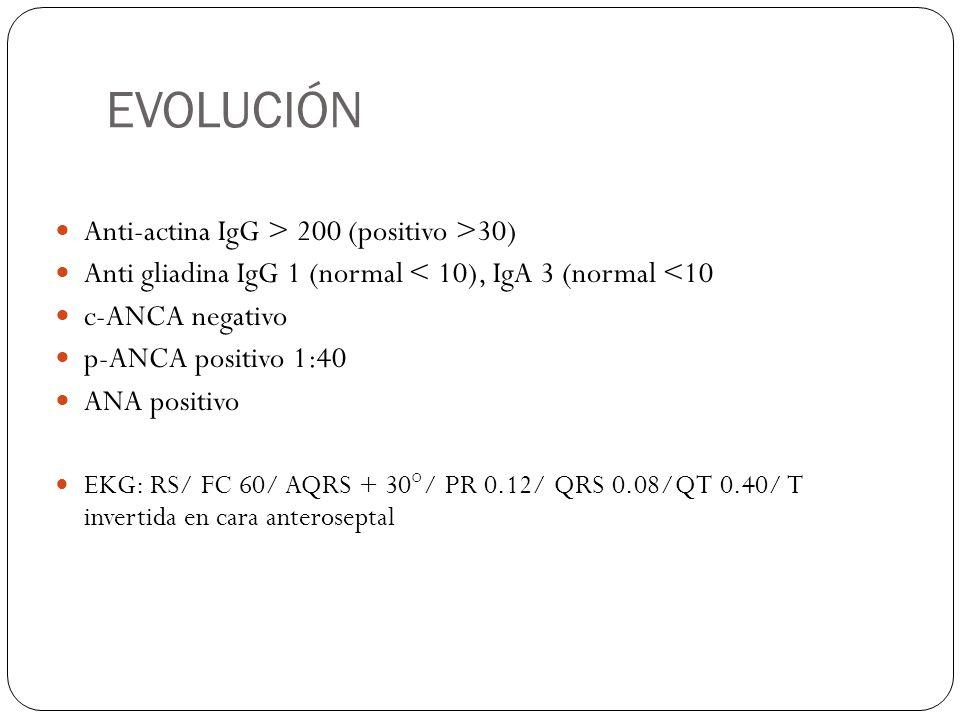 EVOLUCIÓN Anti-actina IgG > 200 (positivo >30)