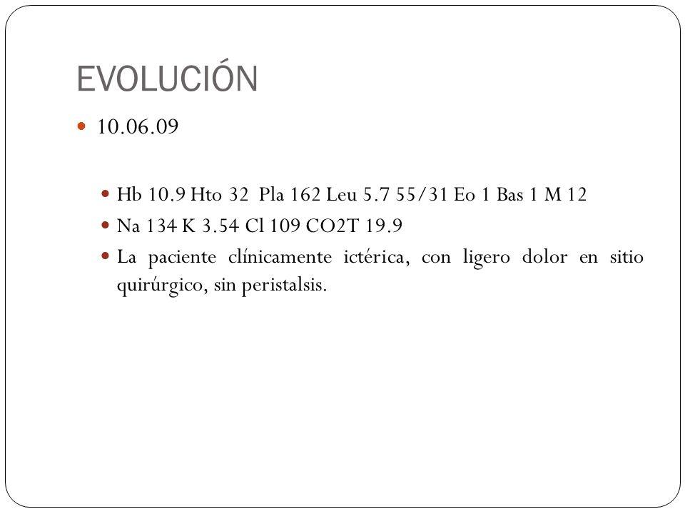EVOLUCIÓN 10.06.09. Hb 10.9 Hto 32 Pla 162 Leu 5.7 55/31 Eo 1 Bas 1 M 12. Na 134 K 3.54 Cl 109 CO2T 19.9.