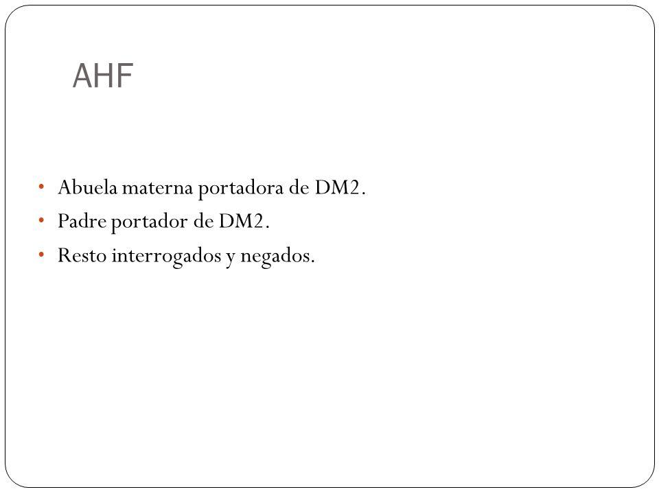 AHF Abuela materna portadora de DM2. Padre portador de DM2.