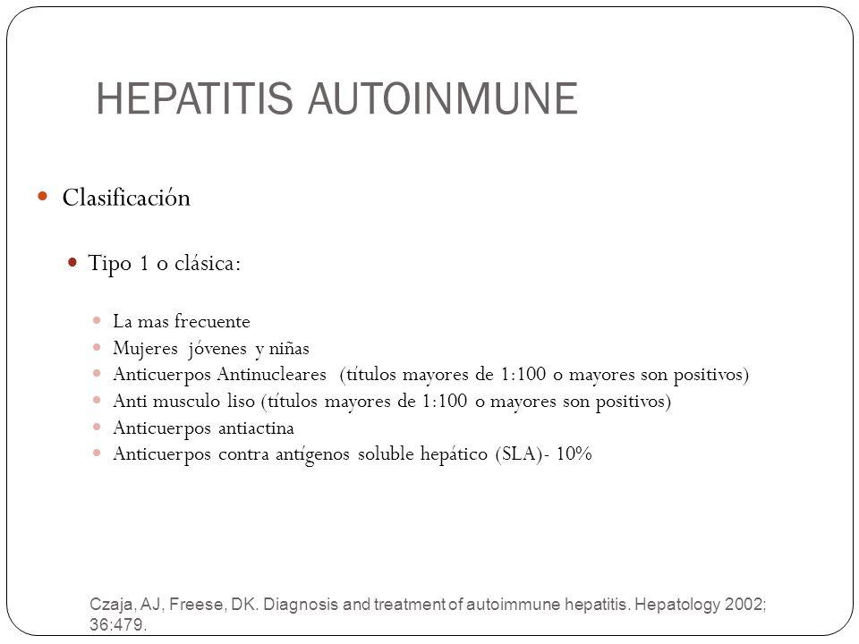 HEPATITIS AUTOINMUNE Clasificación Tipo 1 o clásica: La mas frecuente