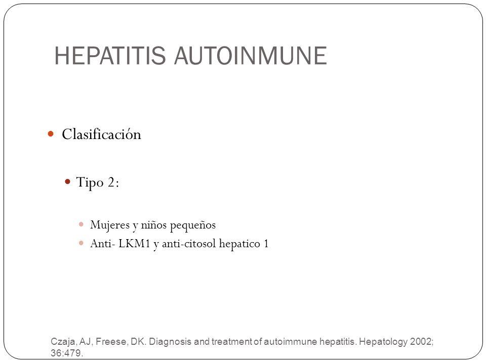 HEPATITIS AUTOINMUNE Clasificación Tipo 2: Mujeres y niños pequeños