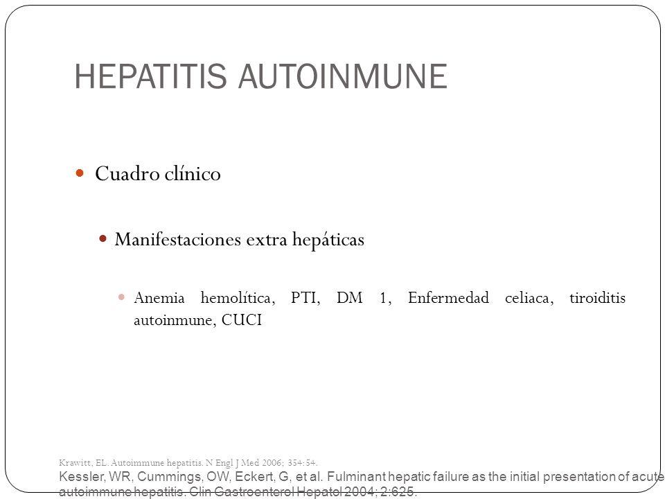 HEPATITIS AUTOINMUNE Cuadro clínico Manifestaciones extra hepáticas