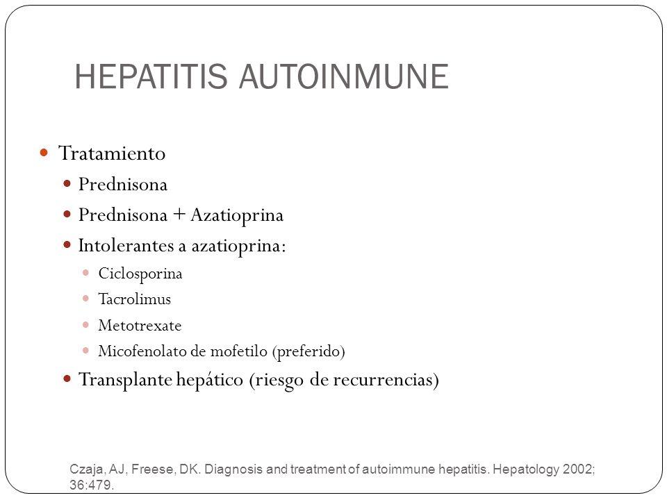HEPATITIS AUTOINMUNE Tratamiento Prednisona Prednisona + Azatioprina