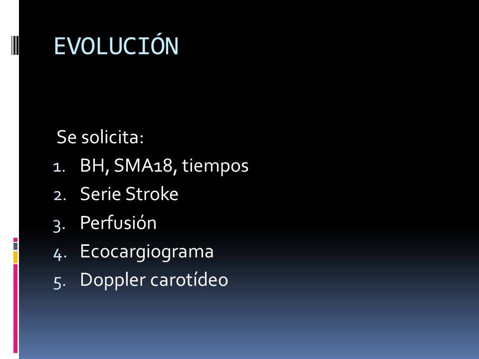 EVOLUCIÓN Se solicita: BH, SMA18, tiempos Serie Stroke Perfusión
