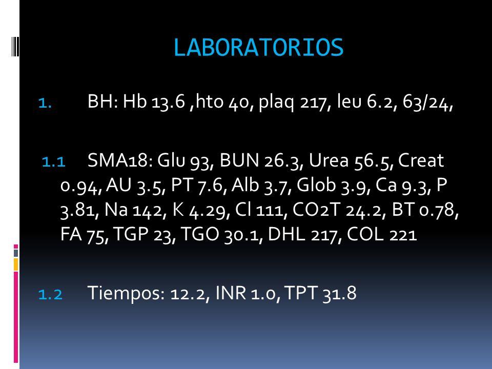 LABORATORIOS 1. BH: Hb 13.6 ,hto 40, plaq 217, leu 6.2, 63/24,