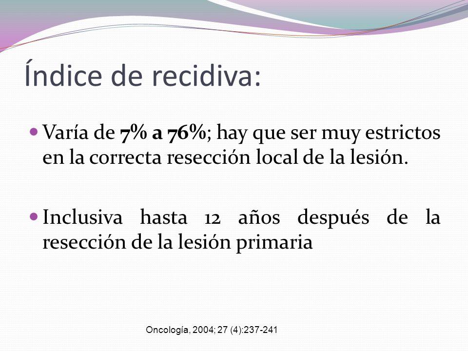 Índice de recidiva: Varía de 7% a 76%; hay que ser muy estrictos en la correcta resección local de la lesión.