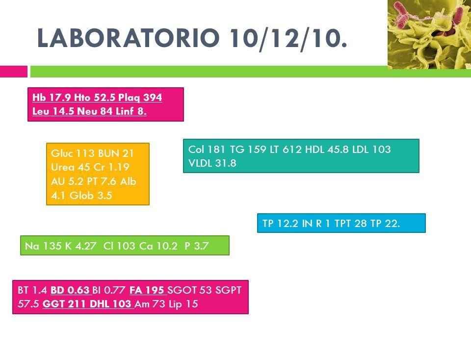 LABORATORIO 10/12/10. Hb 17.9 Hto 52.5 Plaq 394 Leu 14.5 Neu 84 Linf 8. Col 181 TG 159 LT 612 HDL 45.8 LDL 103 VLDL 31.8.