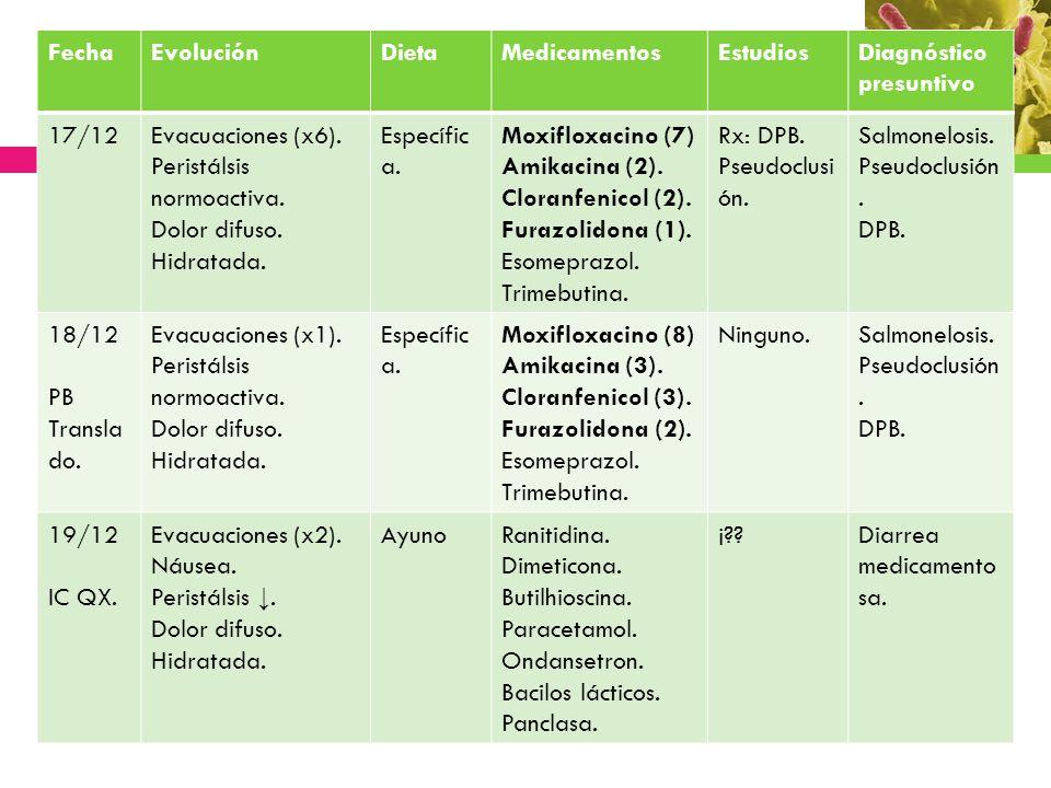 Fecha Evolución. Dieta. Medicamentos. Estudios. Diagnóstico presuntivo. 17/12. Evacuaciones (x6).