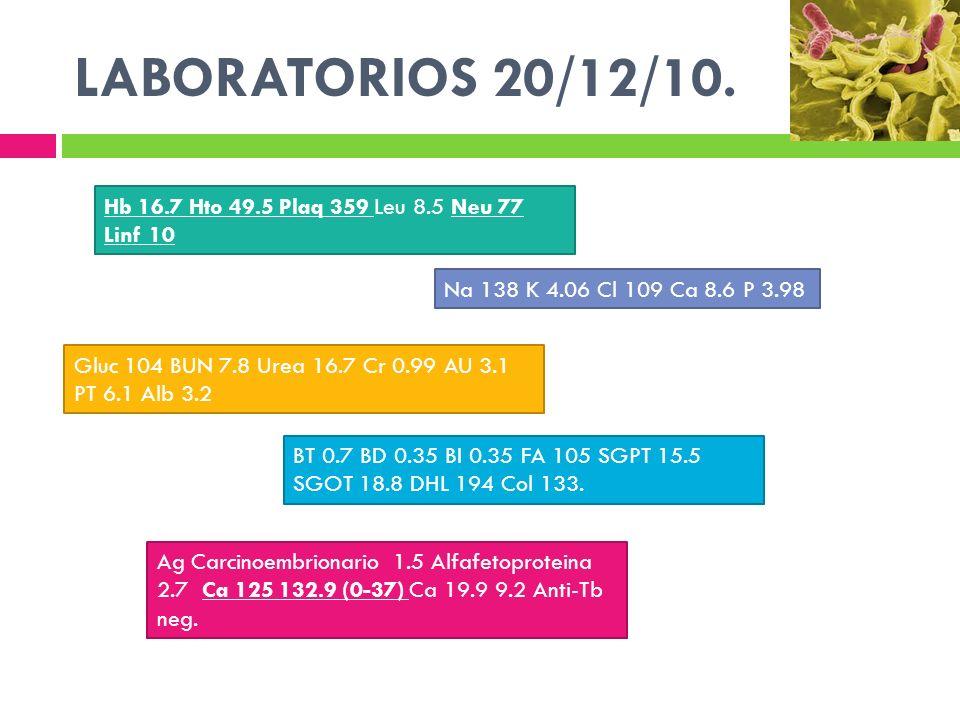 LABORATORIOS 20/12/10. Hb 16.7 Hto 49.5 Plaq 359 Leu 8.5 Neu 77 Linf 10. Na 138 K 4.06 Cl 109 Ca 8.6 P 3.98.