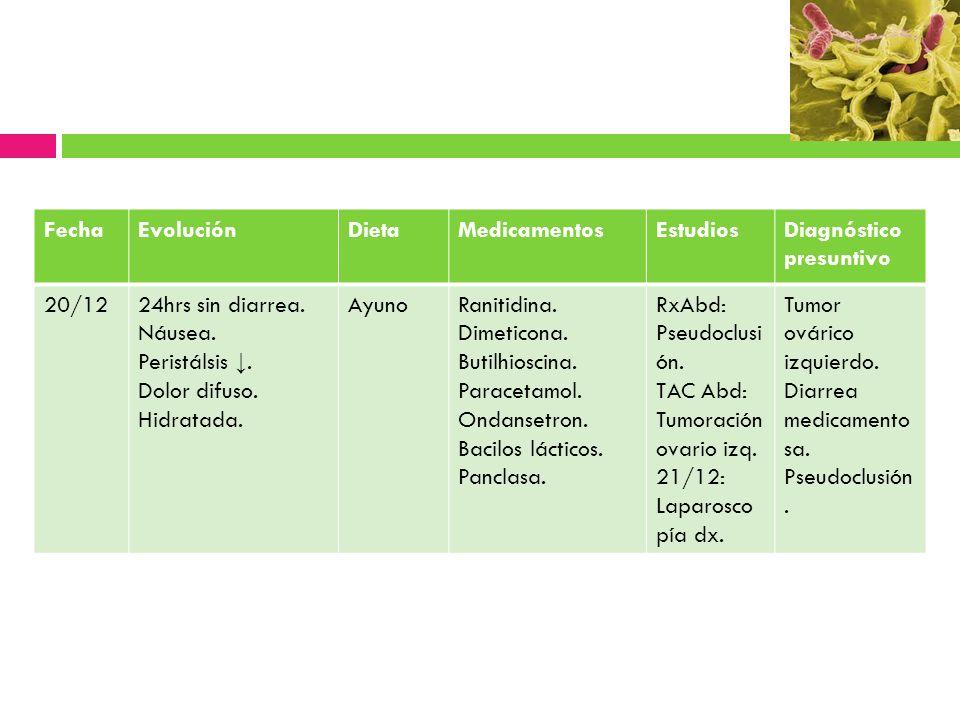 Fecha Evolución. Dieta. Medicamentos. Estudios. Diagnóstico presuntivo. 20/12. 24hrs sin diarrea.