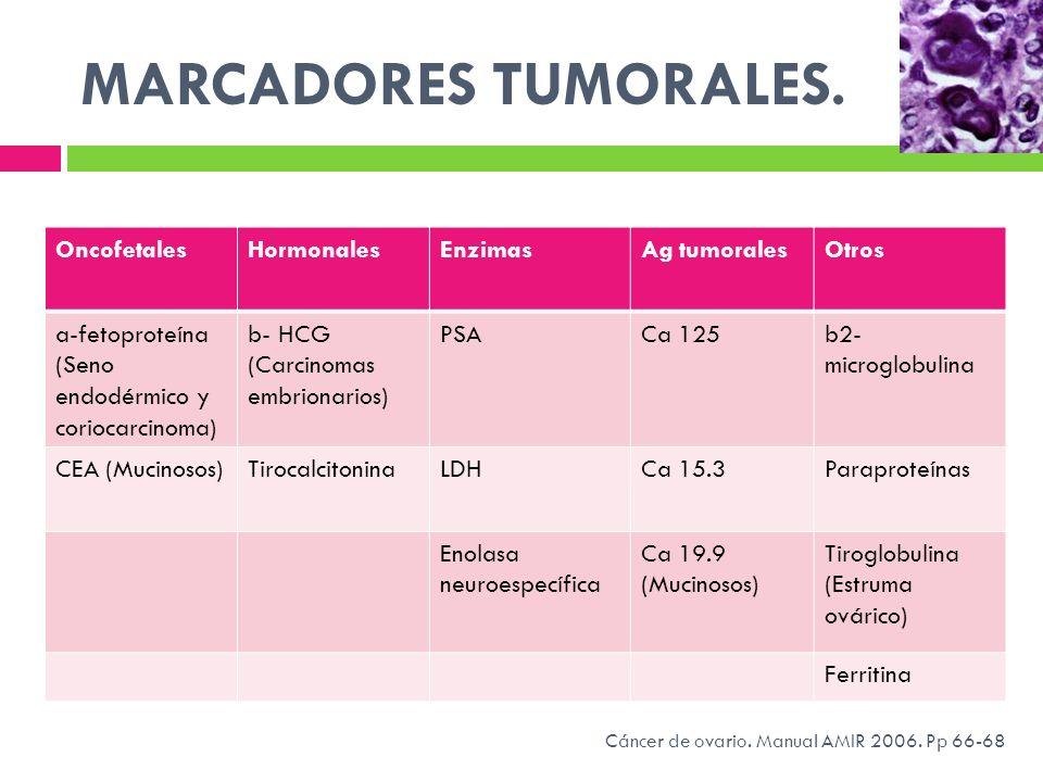 MARCADORES TUMORALES. Oncofetales Hormonales Enzimas Ag tumorales