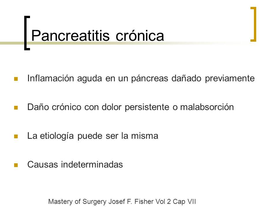 Pancreatitis crónica Inflamación aguda en un páncreas dañado previamente. Daño crónico con dolor persistente o malabsorción.