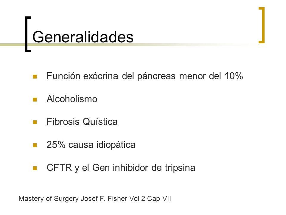 Generalidades Función exócrina del páncreas menor del 10% Alcoholismo