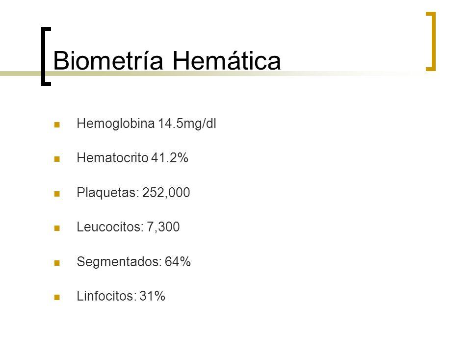 Biometría Hemática Hemoglobina 14.5mg/dl Hematocrito 41.2%