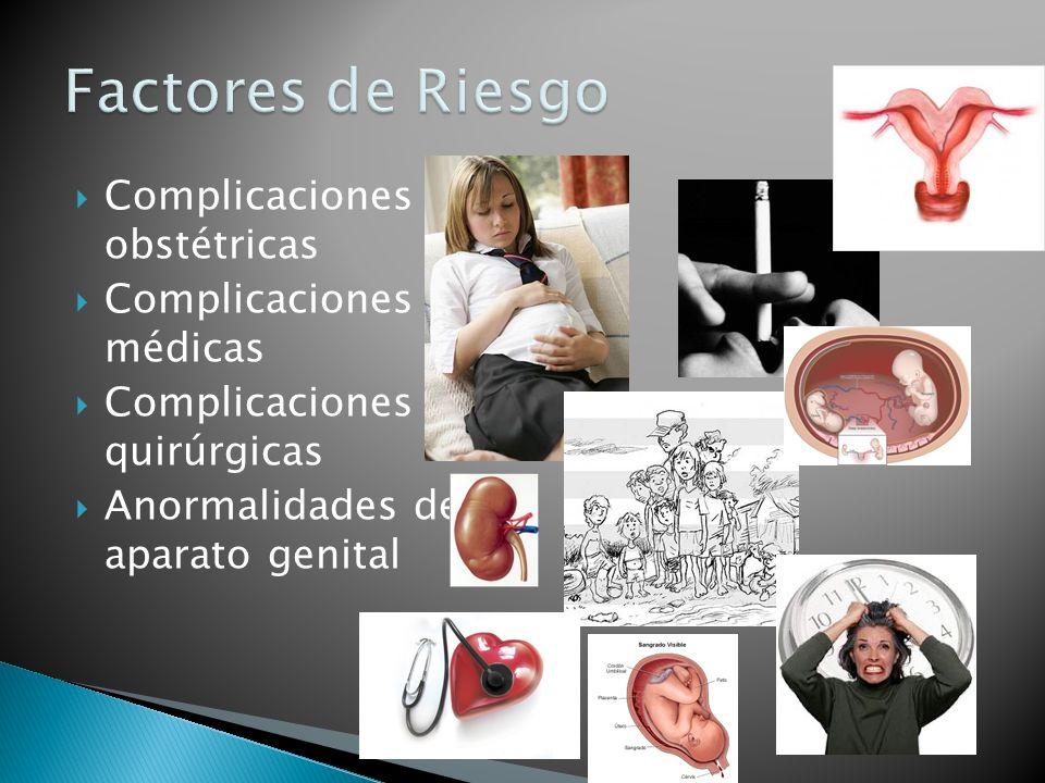 Factores de Riesgo Complicaciones obstétricas Complicaciones médicas