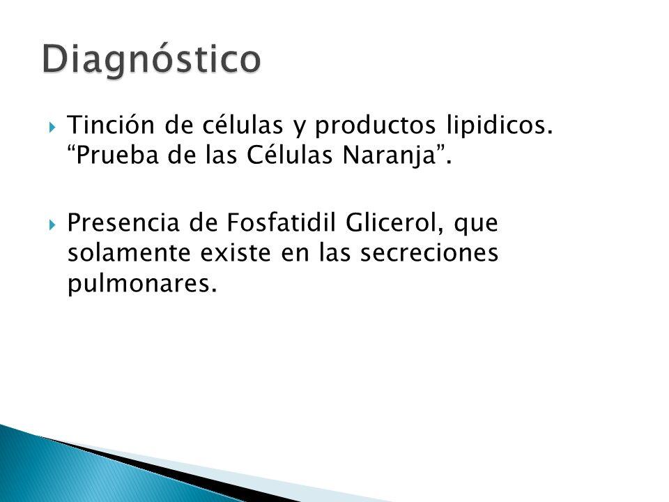 Diagnóstico Tinción de células y productos lipidicos. Prueba de las Células Naranja .