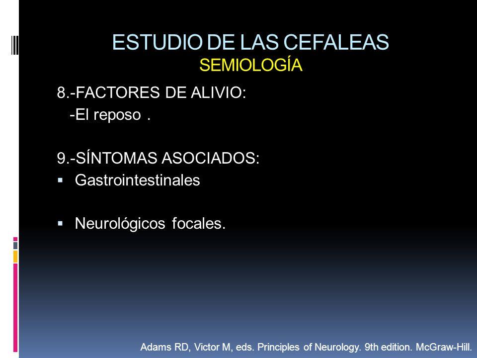 ESTUDIO DE LAS CEFALEAS SEMIOLOGÍA