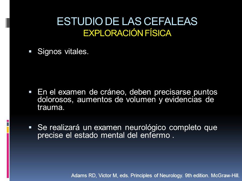 ESTUDIO DE LAS CEFALEAS EXPLORACIÓN FÍSICA