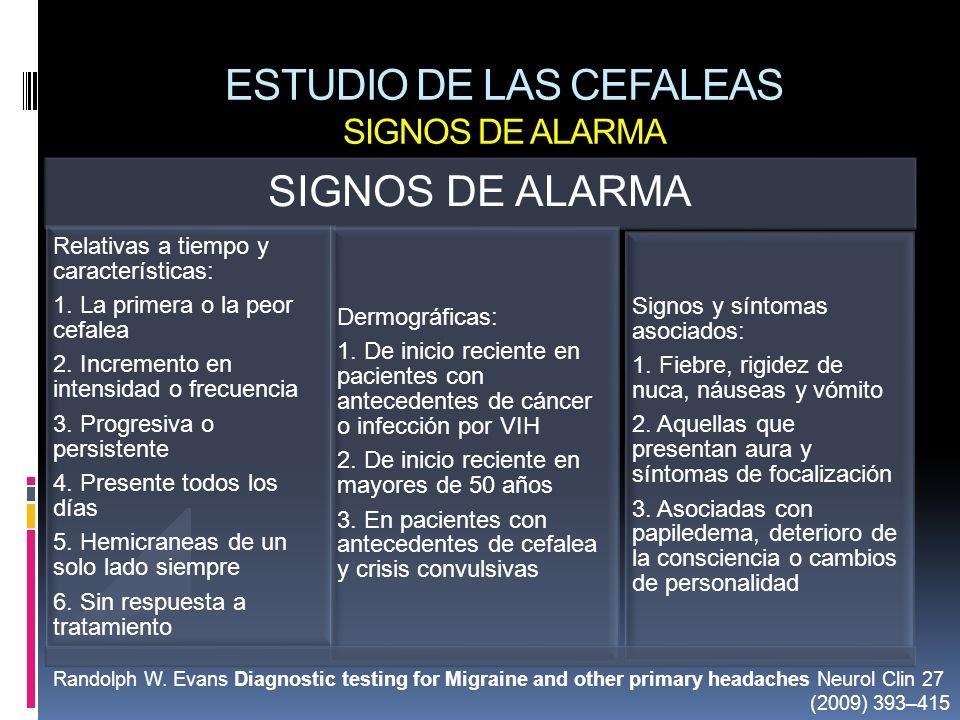 ESTUDIO DE LAS CEFALEAS SIGNOS DE ALARMA