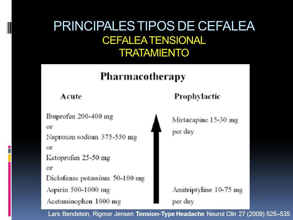 PRINCIPALES TIPOS DE CEFALEA CEFALEA TENSIONAL TRATAMIENTO
