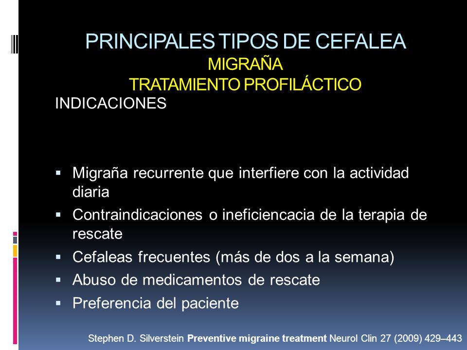 PRINCIPALES TIPOS DE CEFALEA MIGRAÑA TRATAMIENTO PROFILÁCTICO