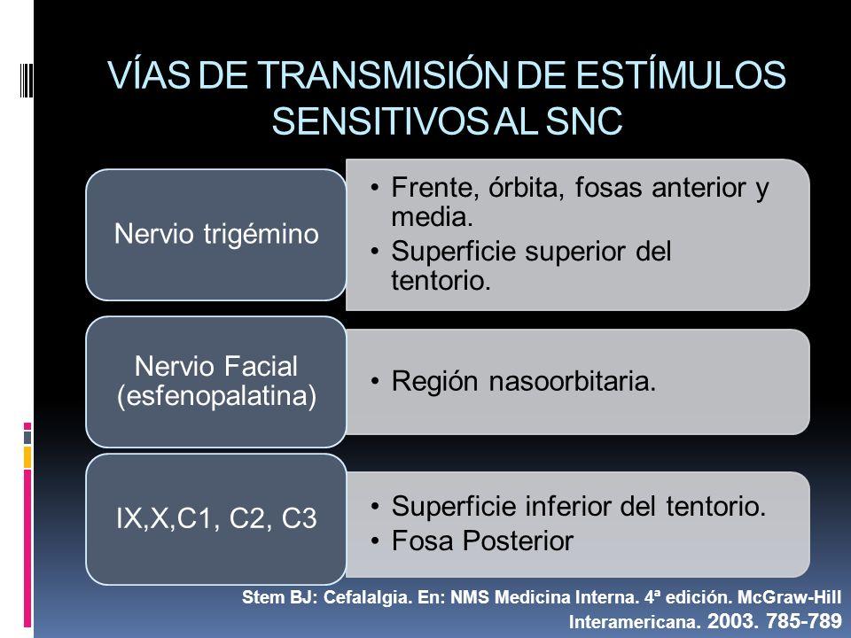 VÍAS DE TRANSMISIÓN DE ESTÍMULOS SENSITIVOS AL SNC