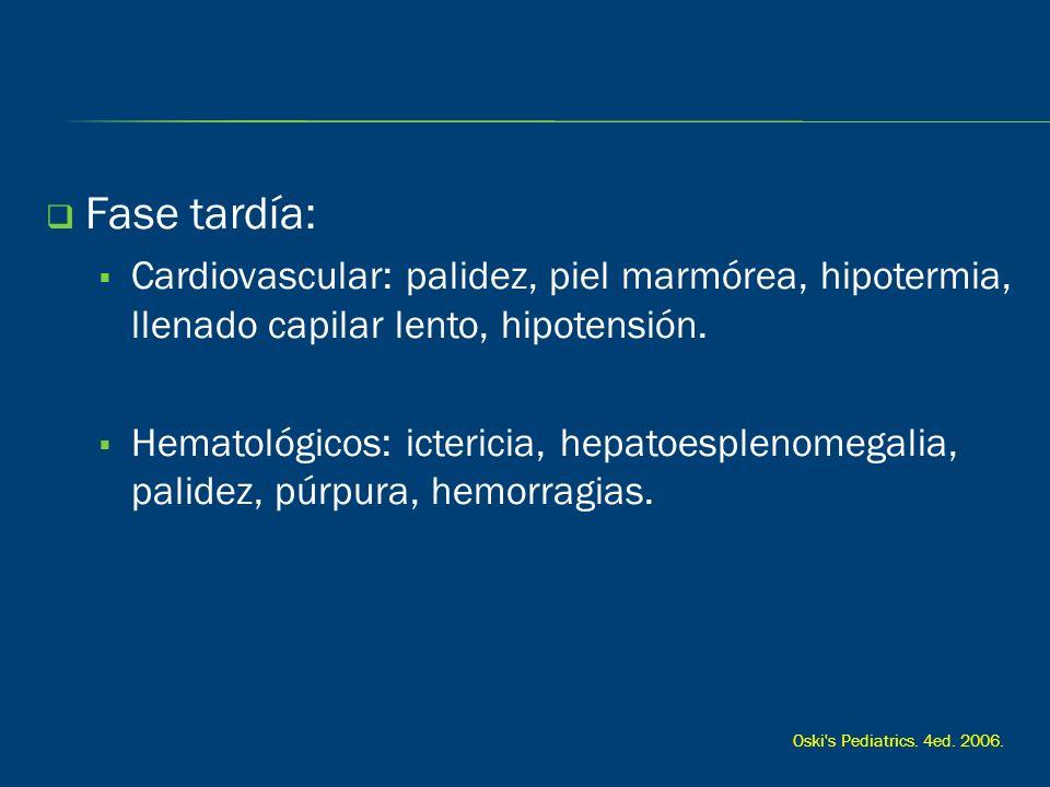 Fase tardía: Cardiovascular: palidez, piel marmórea, hipotermia, llenado capilar lento, hipotensión.
