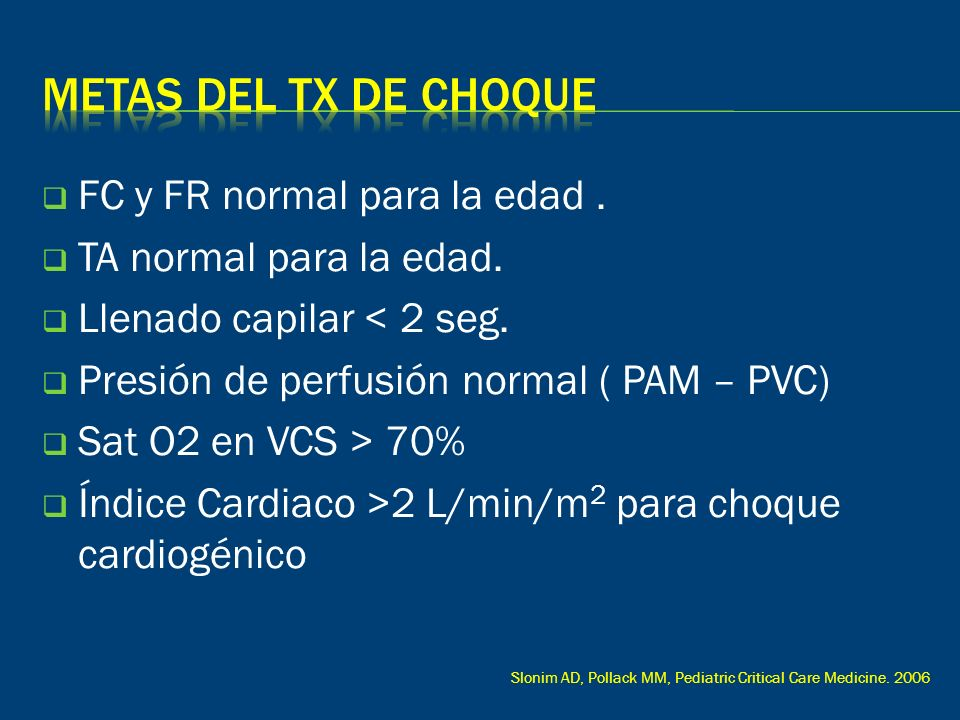 Metas del tx de choque FC y FR normal para la edad .