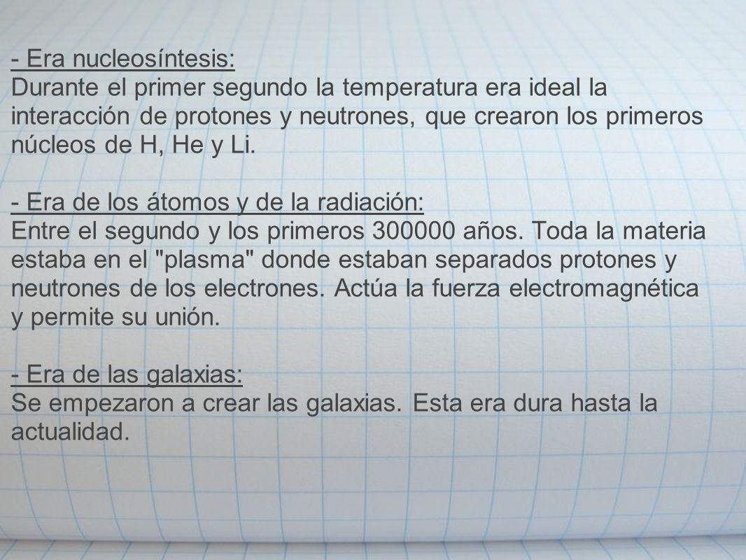 - Era nucleosíntesis:
