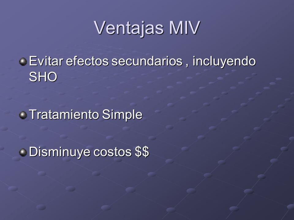 Ventajas MIV Evitar efectos secundarios , incluyendo SHO