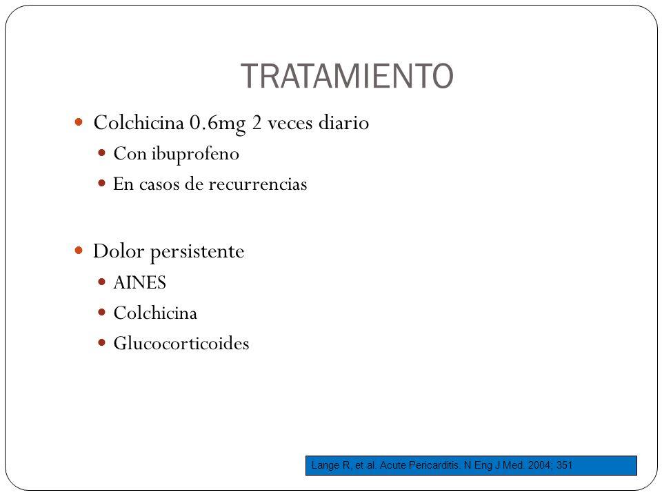 TRATAMIENTO Colchicina 0.6mg 2 veces diario Dolor persistente