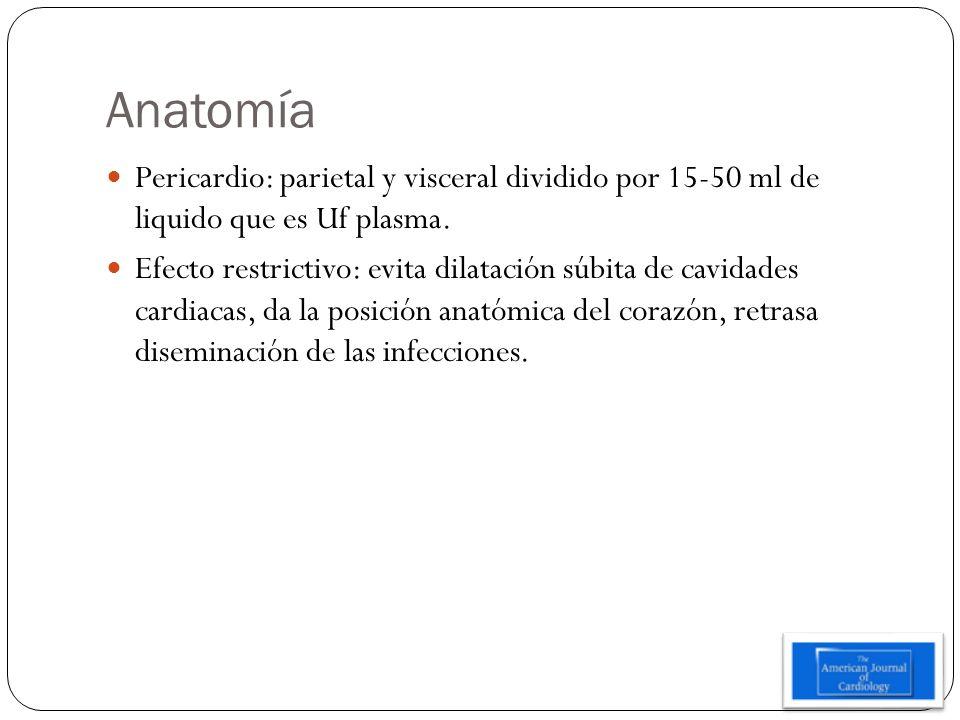 Anatomía Pericardio: parietal y visceral dividido por 15-50 ml de liquido que es Uf plasma.