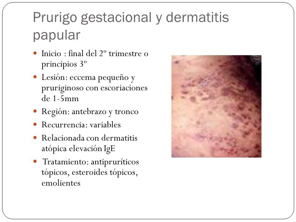 Prurigo gestacional y dermatitis papular