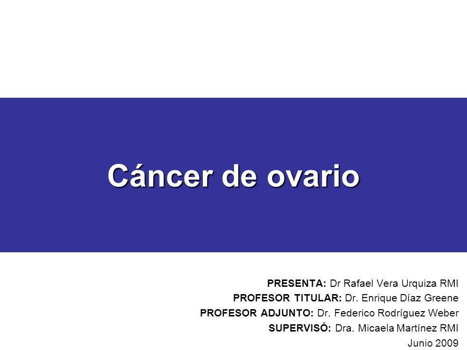 Cáncer de ovario PRESENTA: Dr Rafael Vera Urquiza RMI