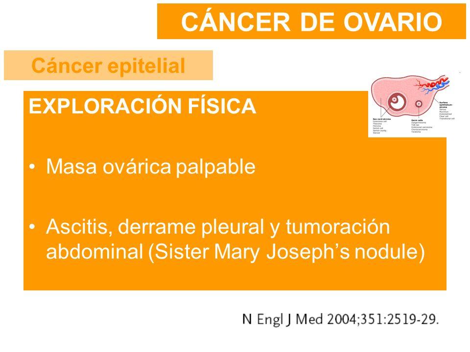 CÁNCER DE OVARIO Cáncer epitelial EXPLORACIÓN FÍSICA