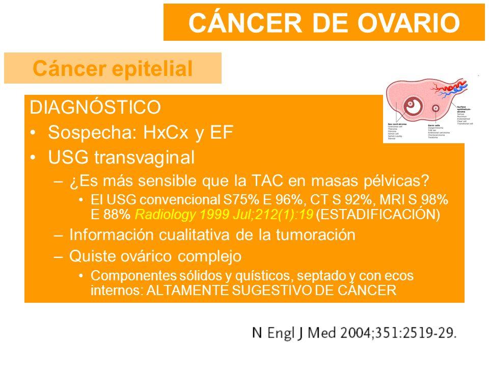 CÁNCER DE OVARIO Cáncer epitelial DIAGNÓSTICO Sospecha: HxCx y EF