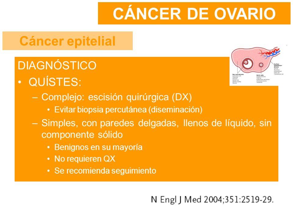 CÁNCER DE OVARIO Cáncer epitelial DIAGNÓSTICO QUÍSTES: