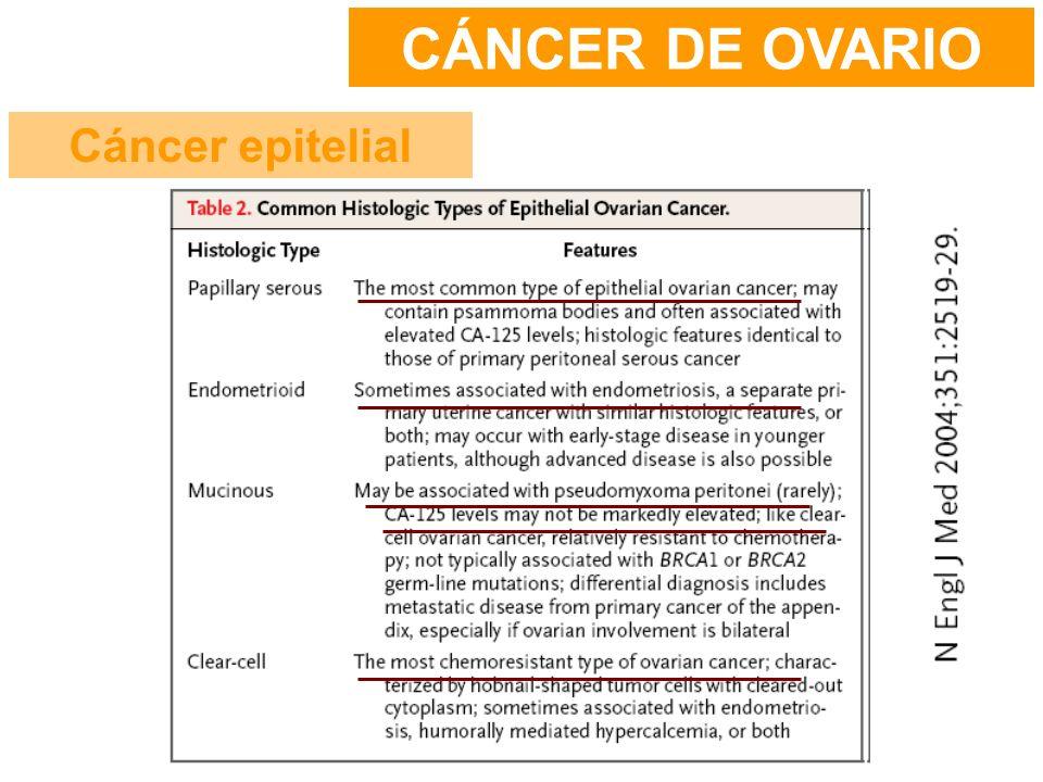 CÁNCER DE OVARIO Cáncer epitelial