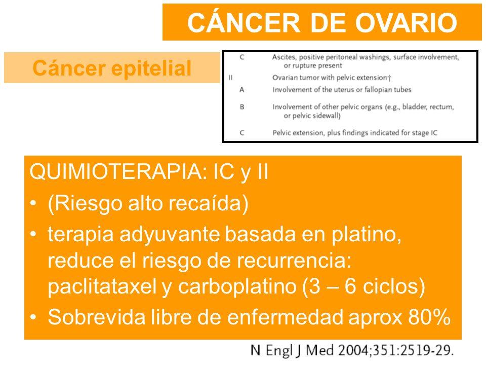 CÁNCER DE OVARIO Cáncer epitelial QUIMIOTERAPIA: IC y II
