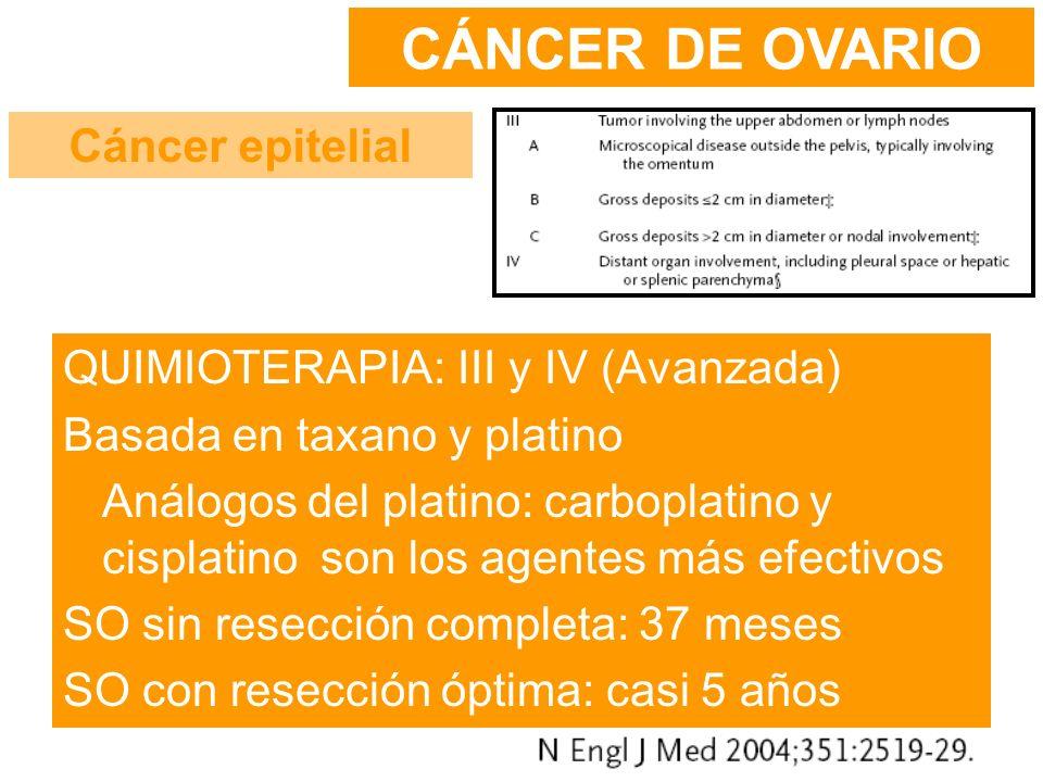 CÁNCER DE OVARIO Cáncer epitelial QUIMIOTERAPIA: III y IV (Avanzada)