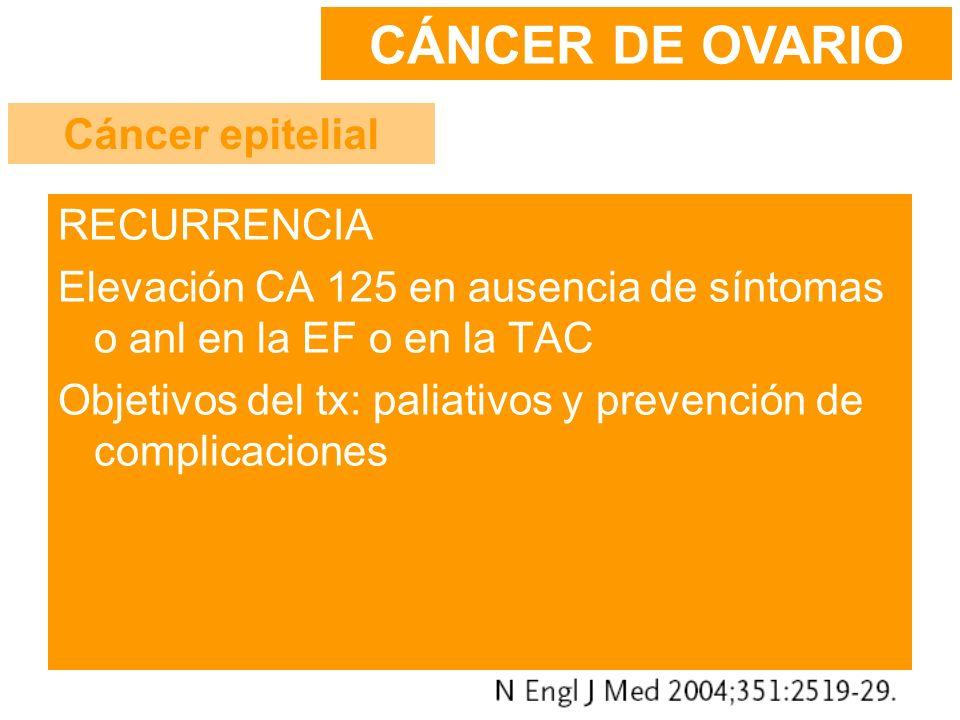 CÁNCER DE OVARIO Cáncer epitelial RECURRENCIA